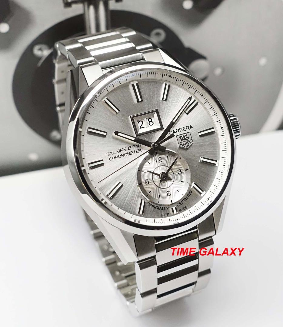 Special offer Brand New TAG HEUER Carrera WAR5011.BA0723 41mm automatic Grande date GMT Stainless Steel Mens Watch