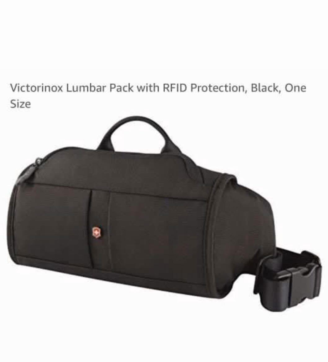 Victorinox. Lumbar Pack with RFID Protection. AUTHENTIC Red zipper tab signifies RFID protected pocket. Adjustable strap. AUTH ENTIC