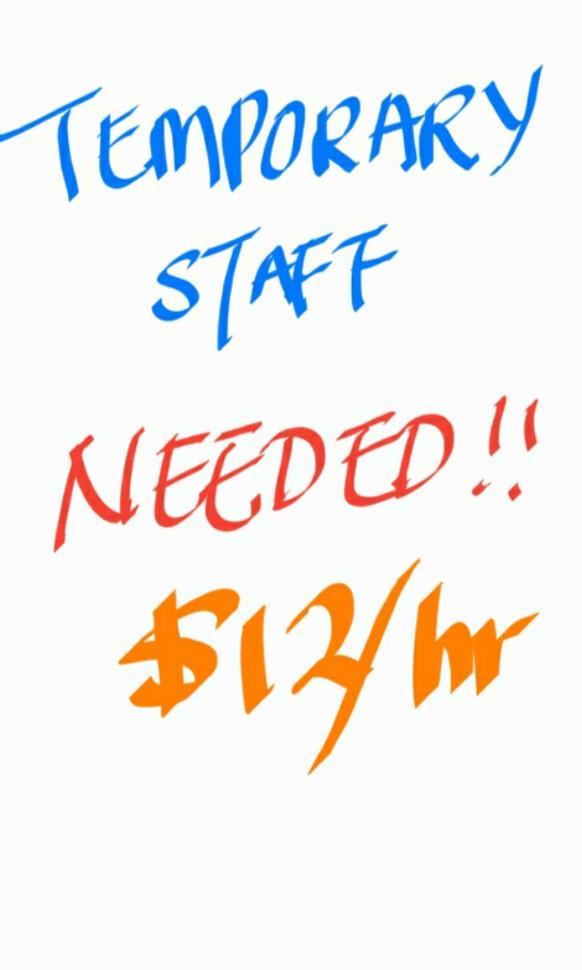 $12-$16/hr** URGENT! Looking for temp staff, ISLANDWIDE!