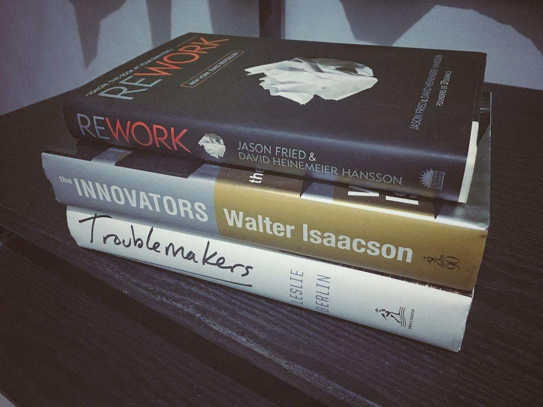 3 Hardcover Books for 600 PHP (Innovators, Troublemakers, Rework)