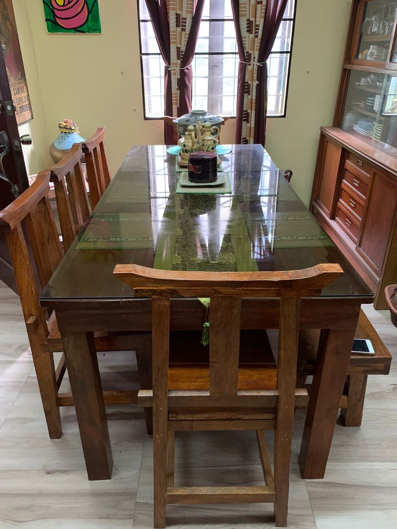 8 Seater Dining Table With Glass Top Home Furniture Furniture Fixtures Tables Chairs On Carousell