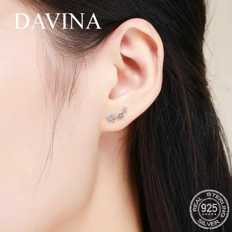 Anting Perak DAVINA Stars Earrings 925 Sterling Silver Wanita Korea Unik Asli S925 Tusuk Bintang