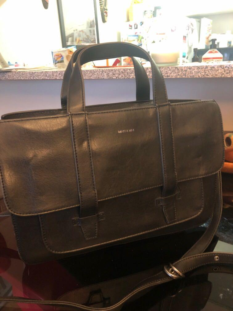 Black Matt & Nat crossbody briefcase laptop handbag  - like new!