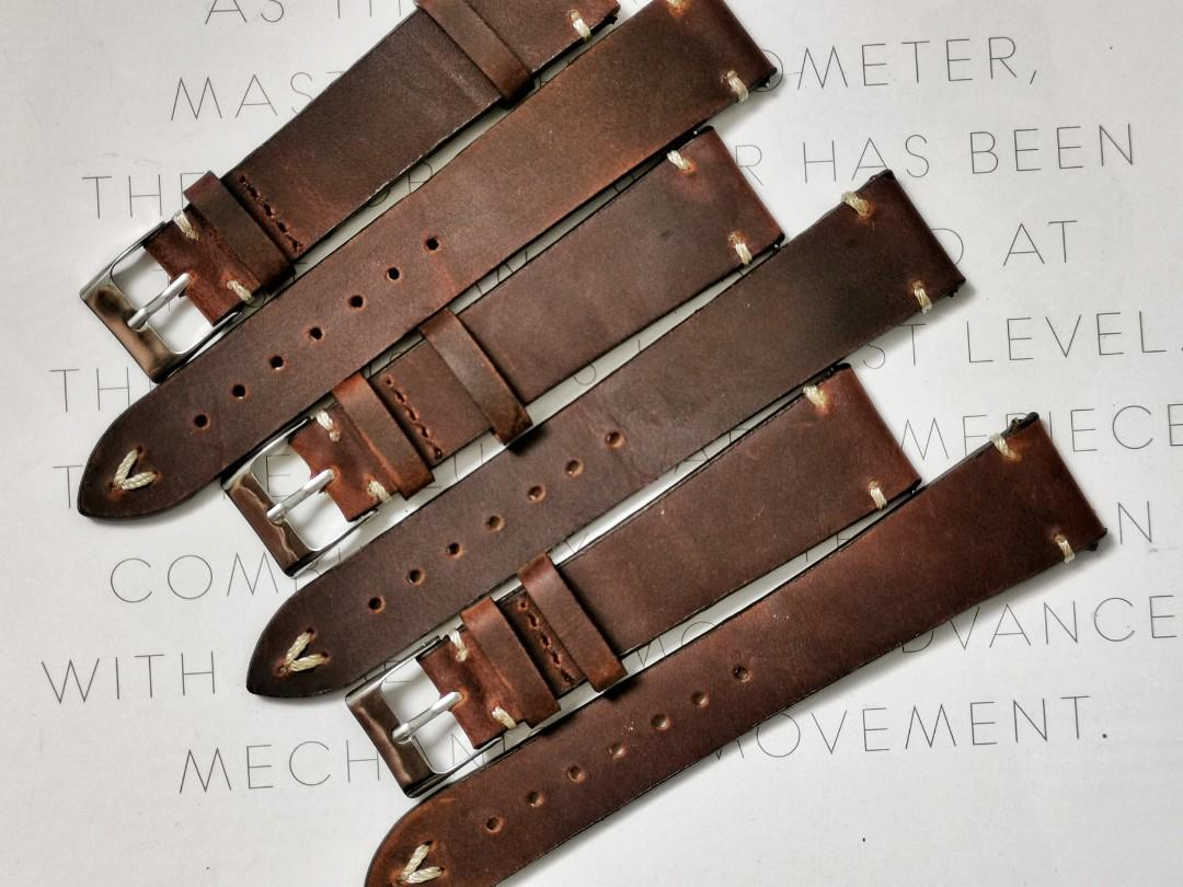 🔥 19mm & 20mm Quick Release Deep Dark Brown two stitch vintage leather strap (premium oiled leather)
