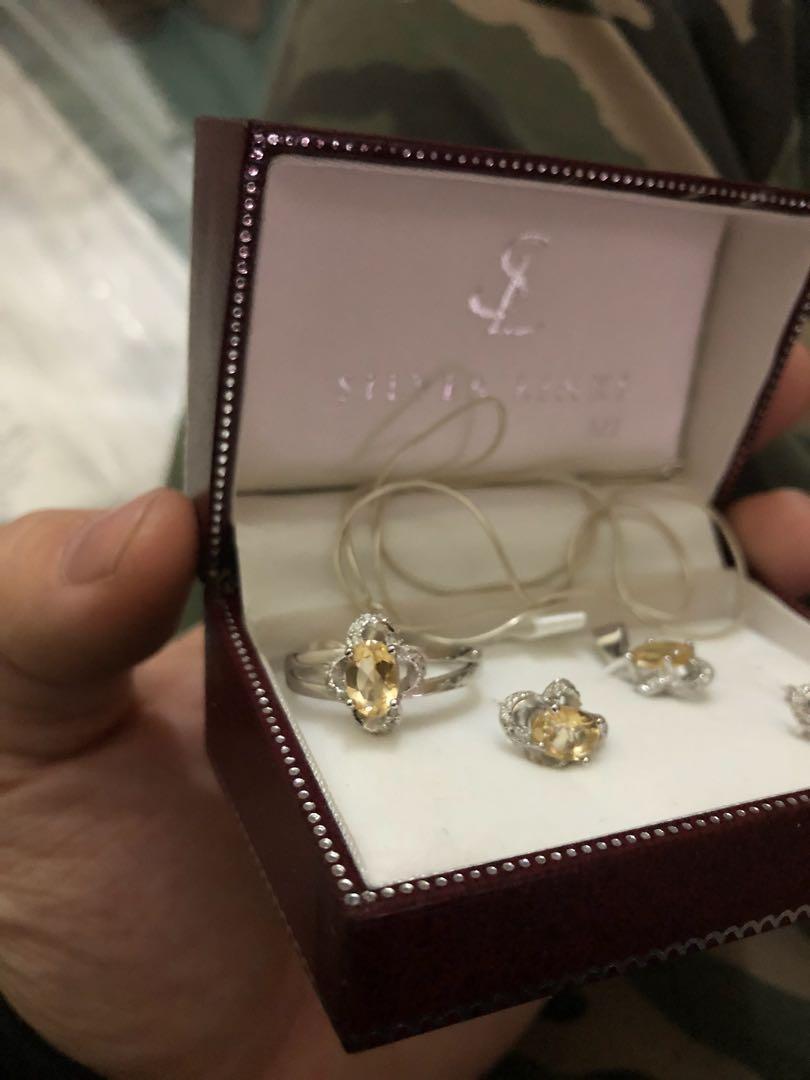natural citrine set of ring necklack pendent earring