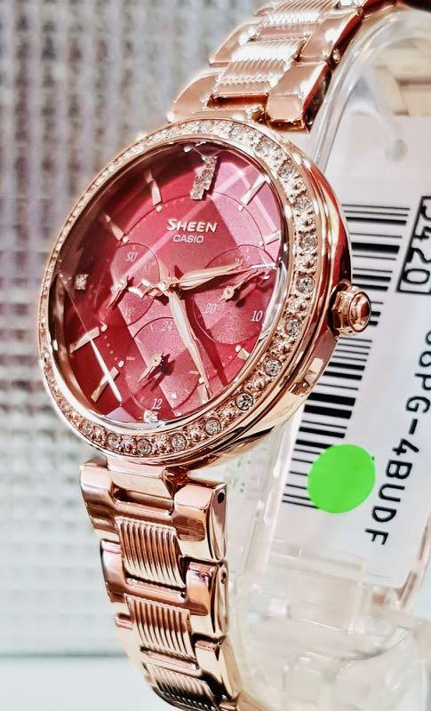 NEW🌟SHEEN LUXURY  GLAMOUR WATCH : 100% ORIGINAL AUTHENTIC CASIO SHEEN BABY-G SHOCK ( GSHOCK )  : Swarovski Crystal & Element : SHE-3068PG-4B (RED-ROSE GOLD)