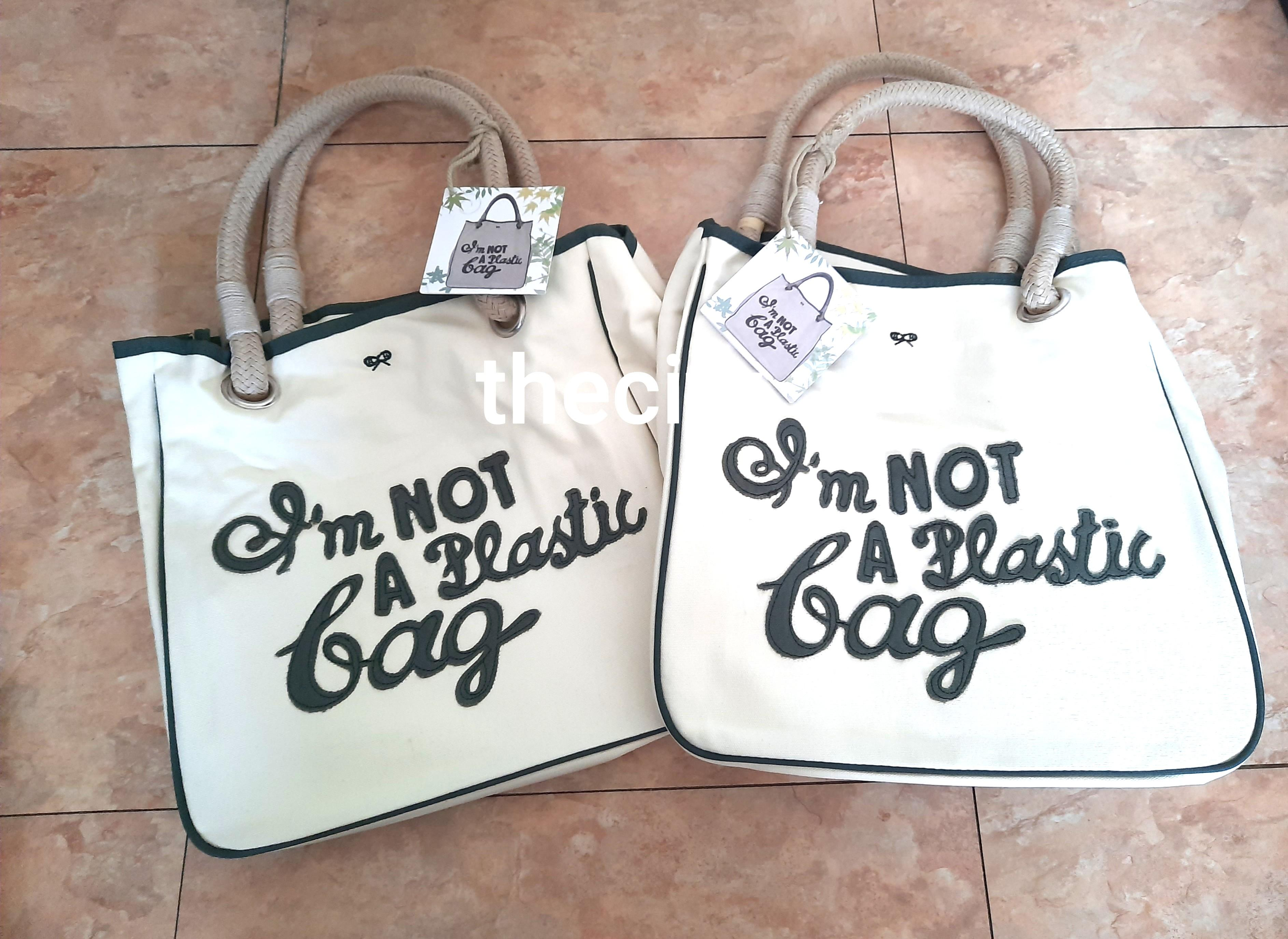 "PREORDER ITEM - BRAND NEW - AUTHENTIC ANYA HINDMARCH ""IM NOT A PLASTIC BAG"" TOTE BAG - RARE GREEN FONT JAPAN EDITION - NEVER BEEN USED - PREORDER ITEM FROM JAPAN -"
