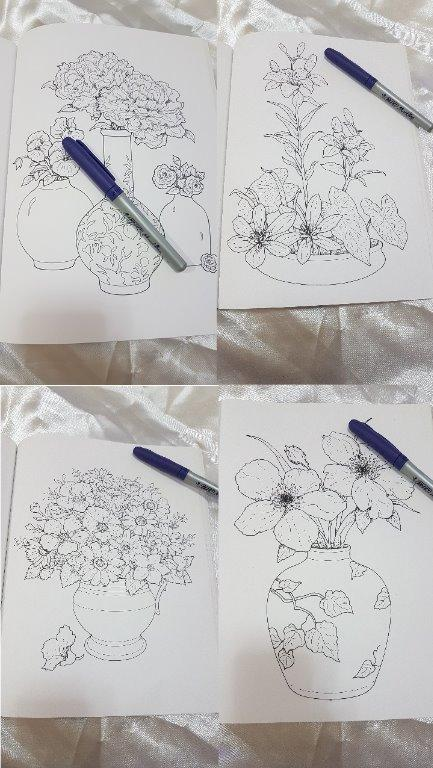 SLIGHTLY USED Creative Haven Beautiful Flower Arrangements Coloring Book