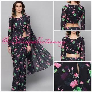 Adaa Collections   Sarees   Women Wear   Floral Georgette Designer Sarees with Semi stitched designed blouse
