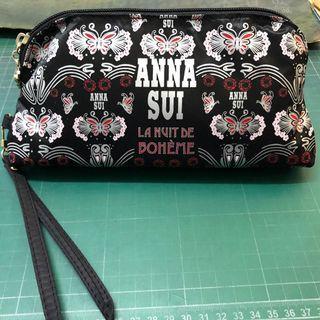 Anna sui 化妝包 錢包 手拿包 滿版