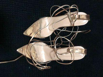 Rose Gold Strappy Heels - Sz9.5