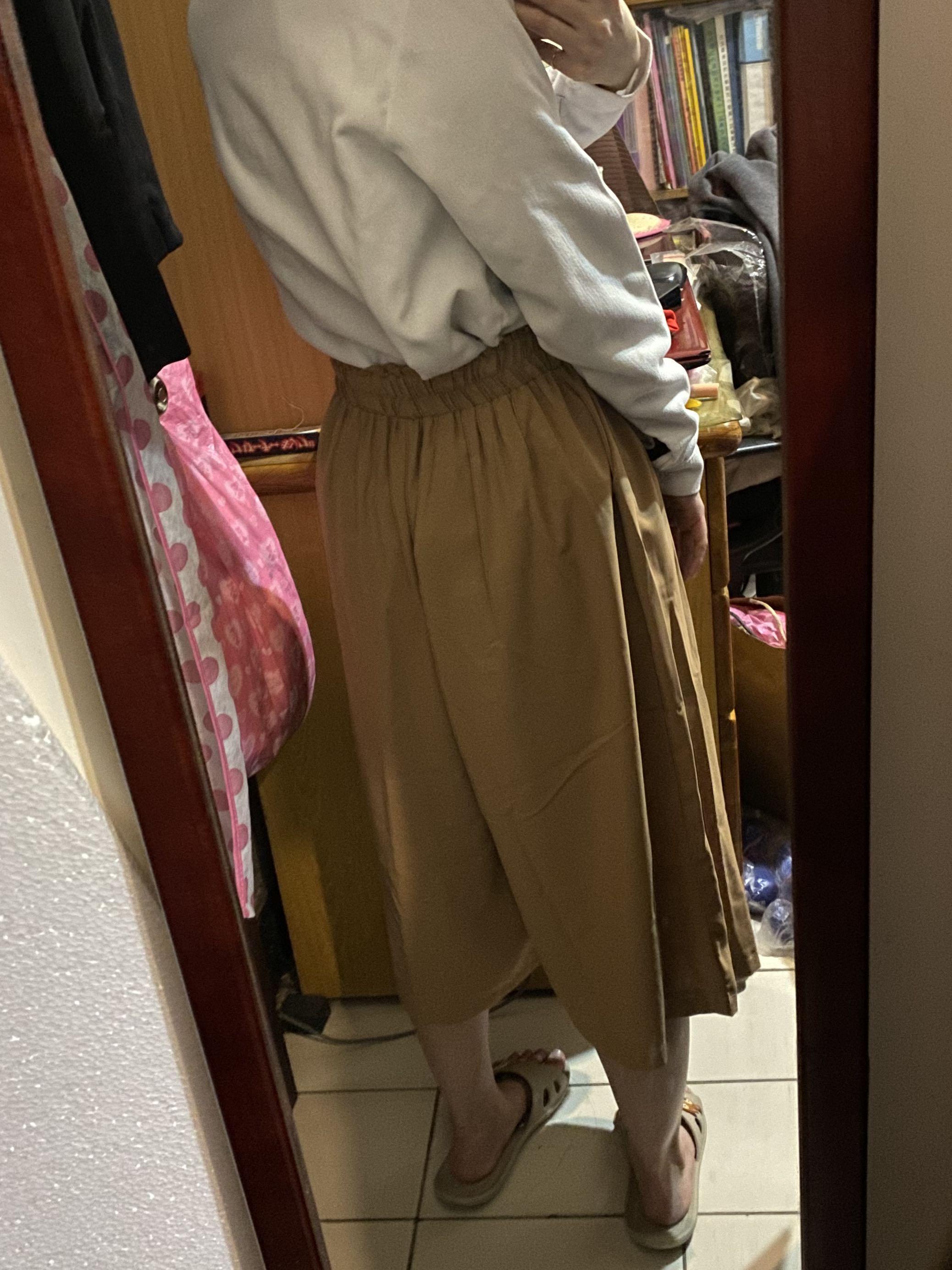卡其色 杏色 雪紡紗寬褲 寬闊褲 高腰褲