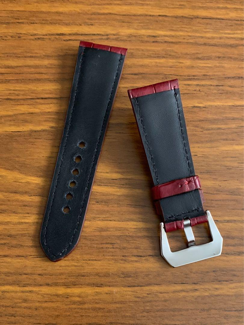 26mm/22mm Authentic Classy Oxblood Bordeaux Brown Crocodile 🐊 Alligator Watch Strap (second and final piece😊) standard length- L:75mm, S:120mm