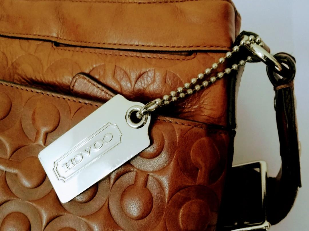 Preloved Authentic Coach Brown Leather Shoulder Messenger Crossbody Bag