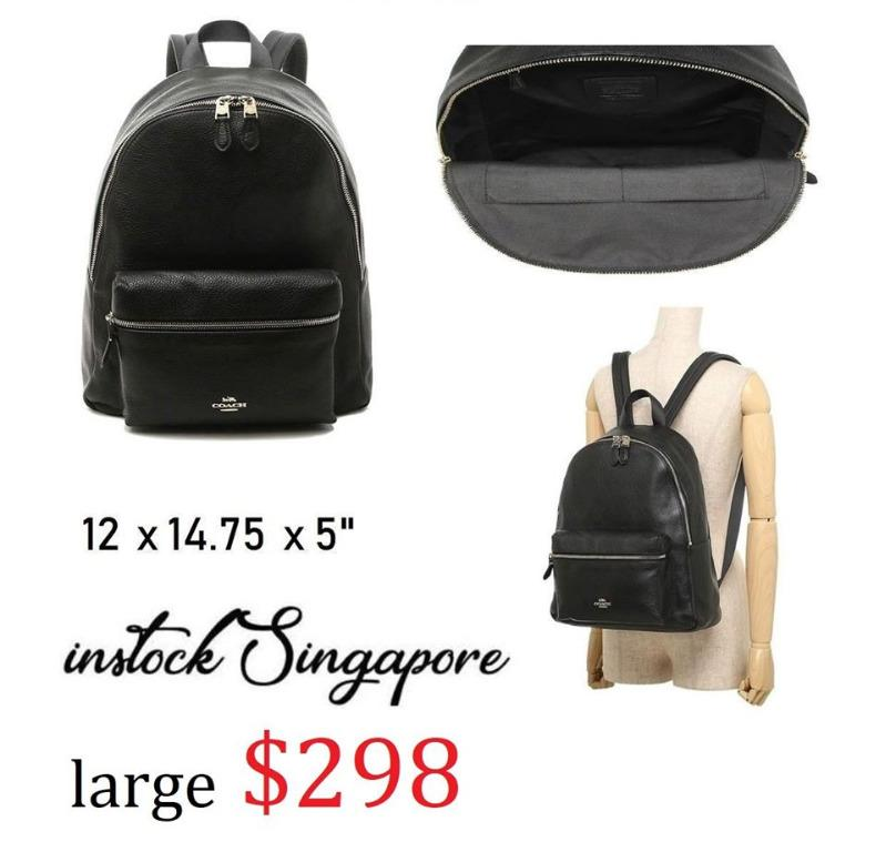 READY STOCK authentic new  COACH Coach CHARLIE BACKPACK (COACH F29004) large full leather BLACK/GOLD