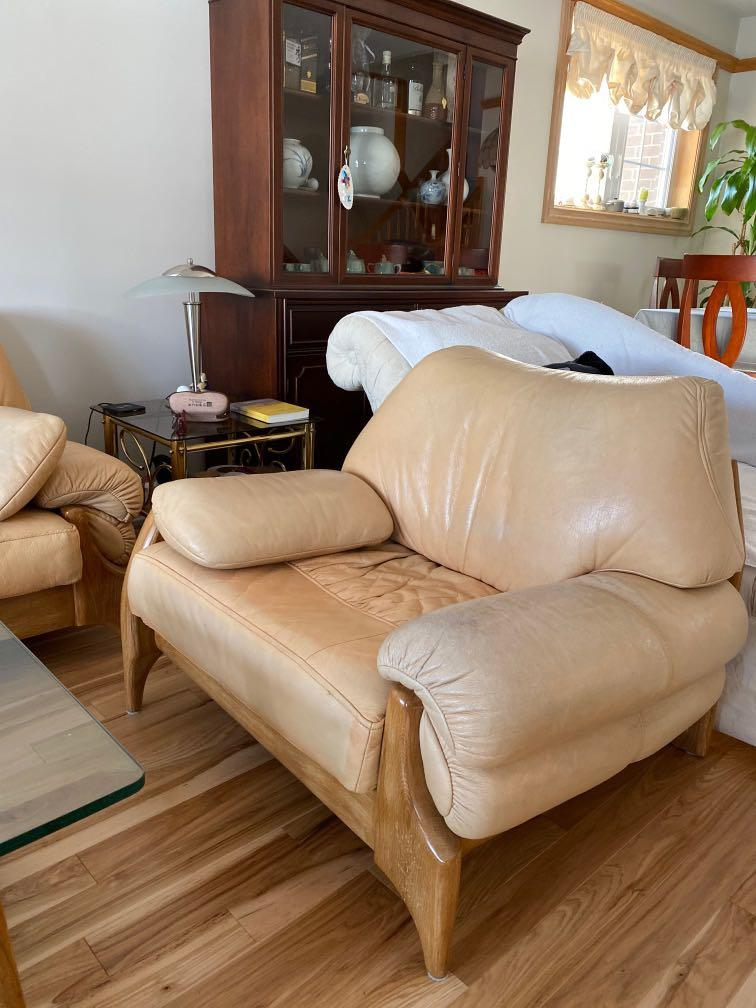 Real leather sofa set on beautiful and solid wood frame
