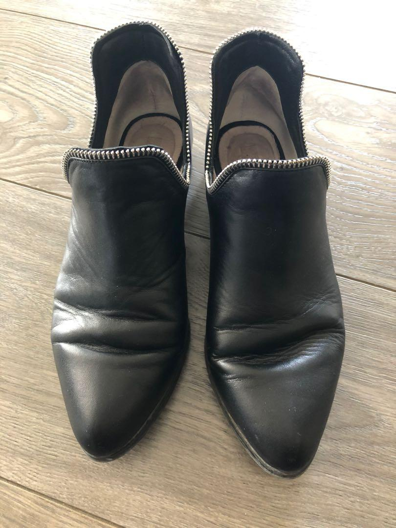 Senso Bailey VII Booties (Ebony Calf/Silver Zip), Size 36