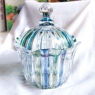 #全新未拆 SOGA 日本進口 水晶玻璃 藍綠條紋玻璃糖罐