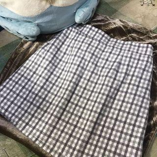 全新 格子裙(淡灰色)