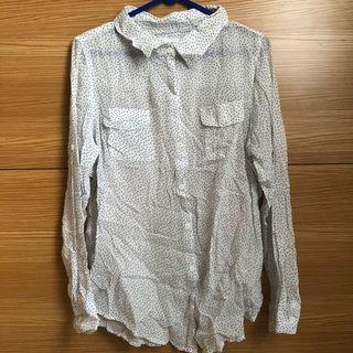 polkadot navy-white shirt