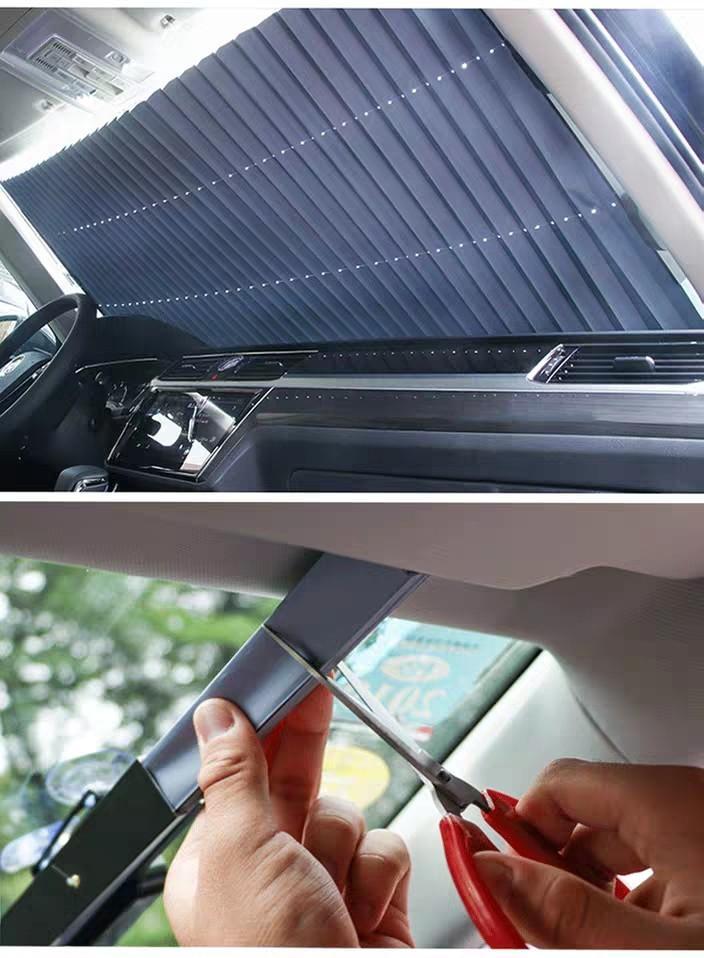 70cm Curtain Shade Car Folding Front Window SunShade Visor Auto Retractable Windshield Block Cover