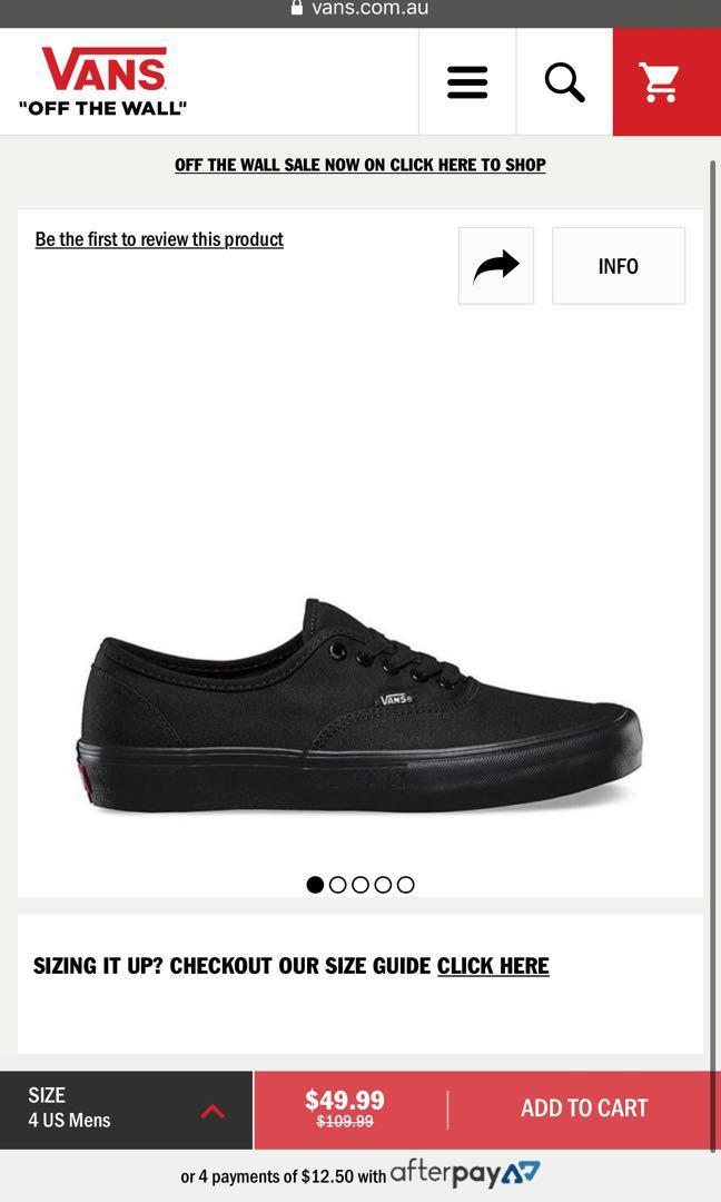 Authentic all black VANS / size: men's 7 OR women's 8.5