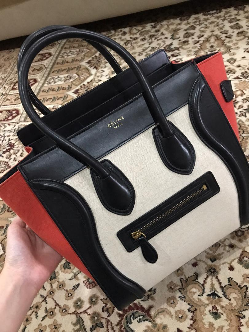 AUTHENTIC Celine Canvas Smooth Calfskin Tri-Color Micro Luggage in Natural