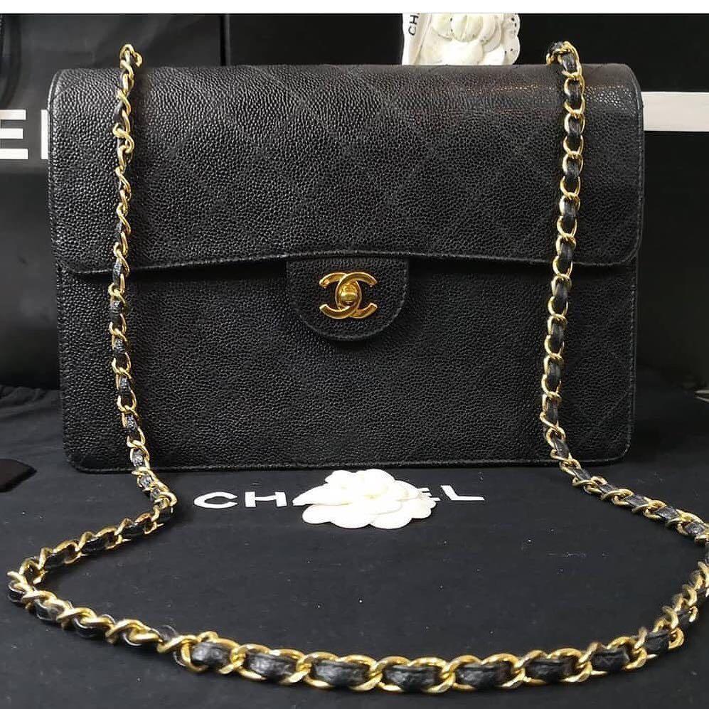 Authentic Chanel Classic Jumbo Black Caviar 24k Gold Hardware Single Flap Bag