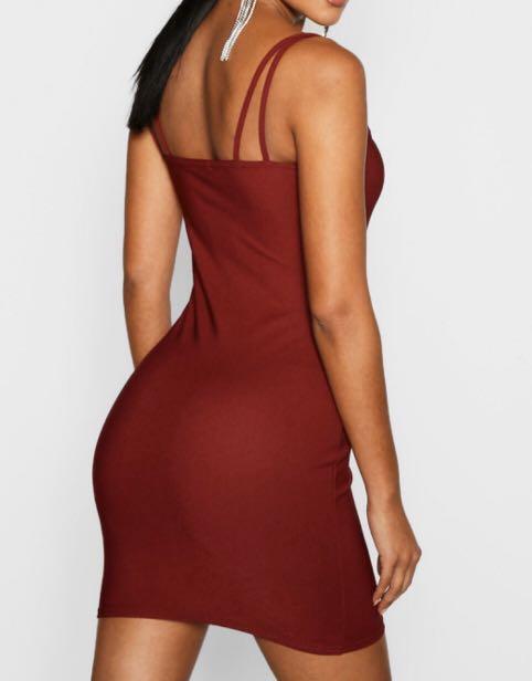 Brand New Size 8 Square Neck Cross Strappy Bodycon Dress