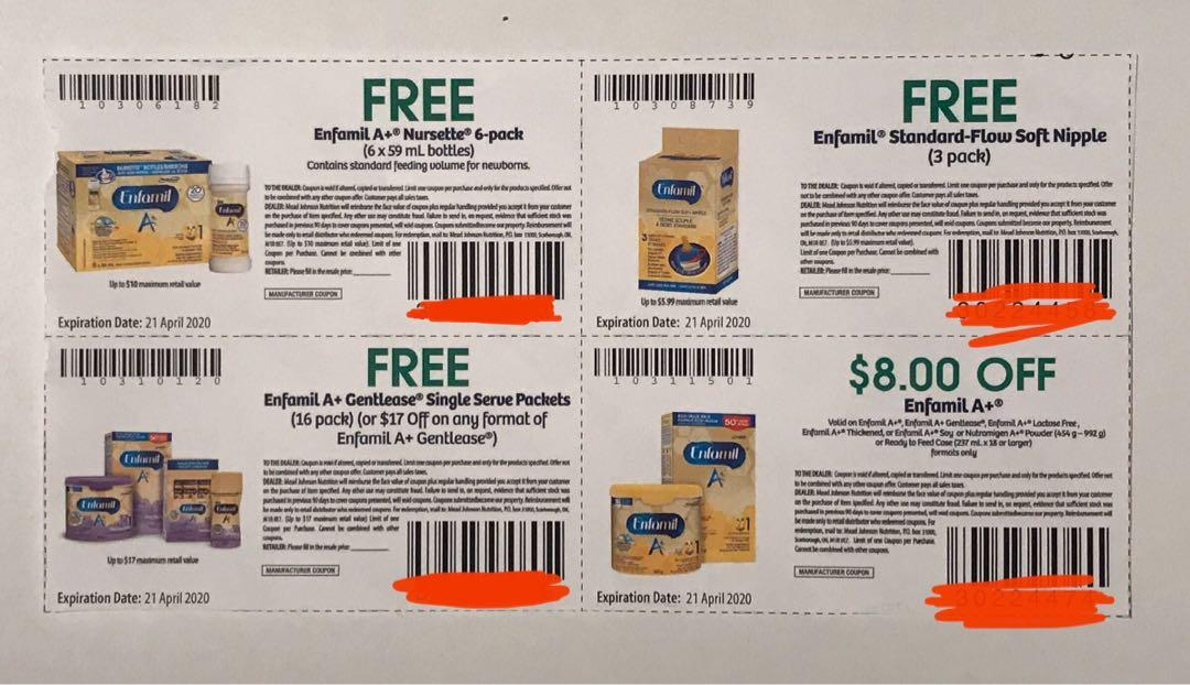 Enfamil coupons (ready to feed, gentlease, nipple, $8 off)