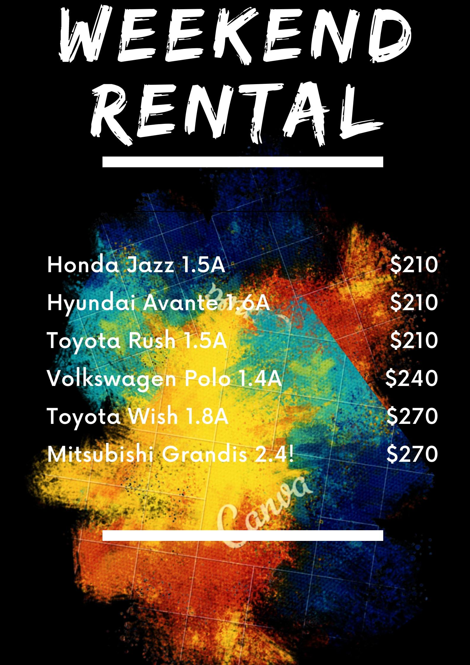 February Weekend Rental Cars of all shapes and sizes, colors
