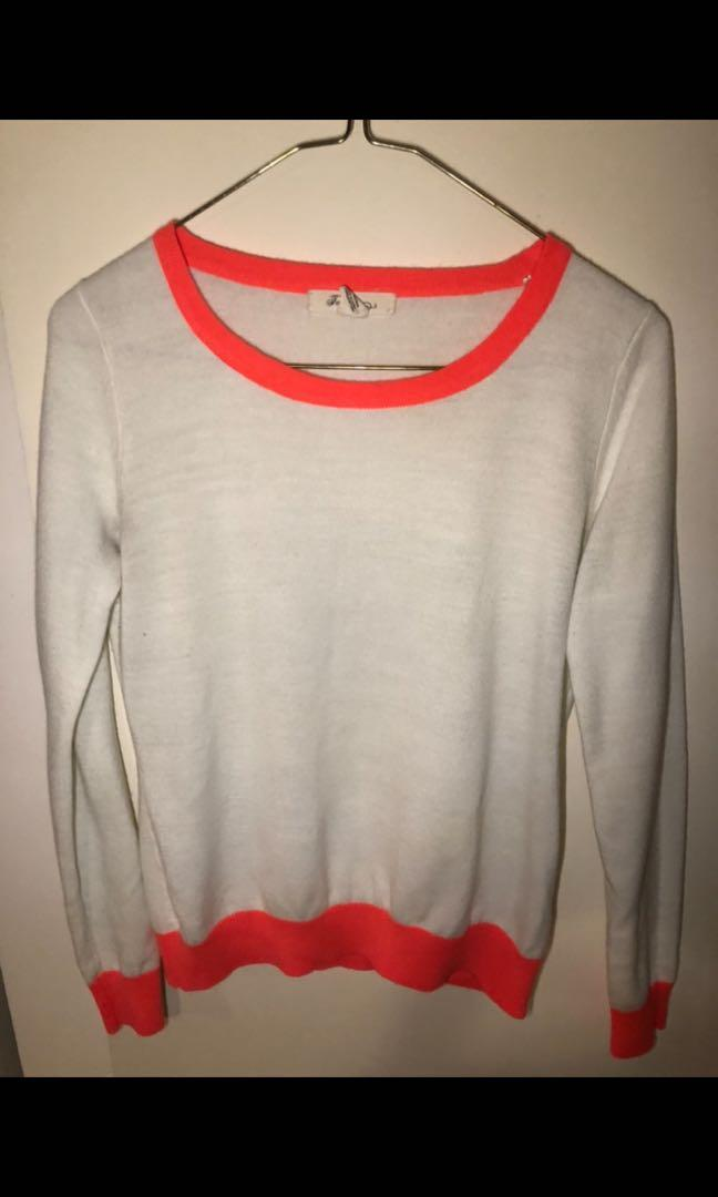Forever 21 white sweater with neon trim size small