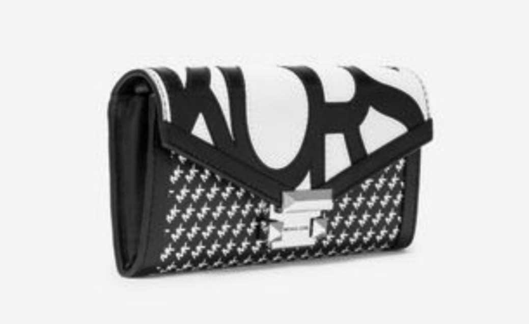 Ltd. Edition 2 in 1 Authentic MICHAEL KORS Whitney Large Graphic Logo Chain Wallet Bag (White w Black Logo) And Card Case