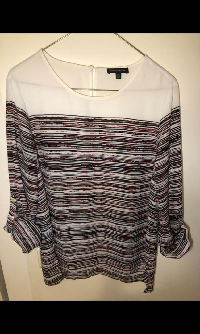Lord and Taylor women's striped top size small. Brand new condition. Work appropriate. True to size