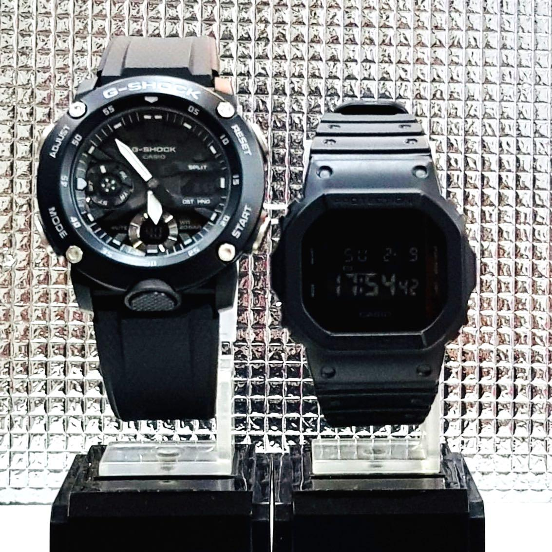 NEW🌟COUPLE💝SET : BABYG + GSHOCK UNISEX DIVER SPORTS WATCH : 100% ORIGINAL AUTHENTIC CASIO BABY-G-SHOCK : GA-2000S-1A + DW-5600BB-1