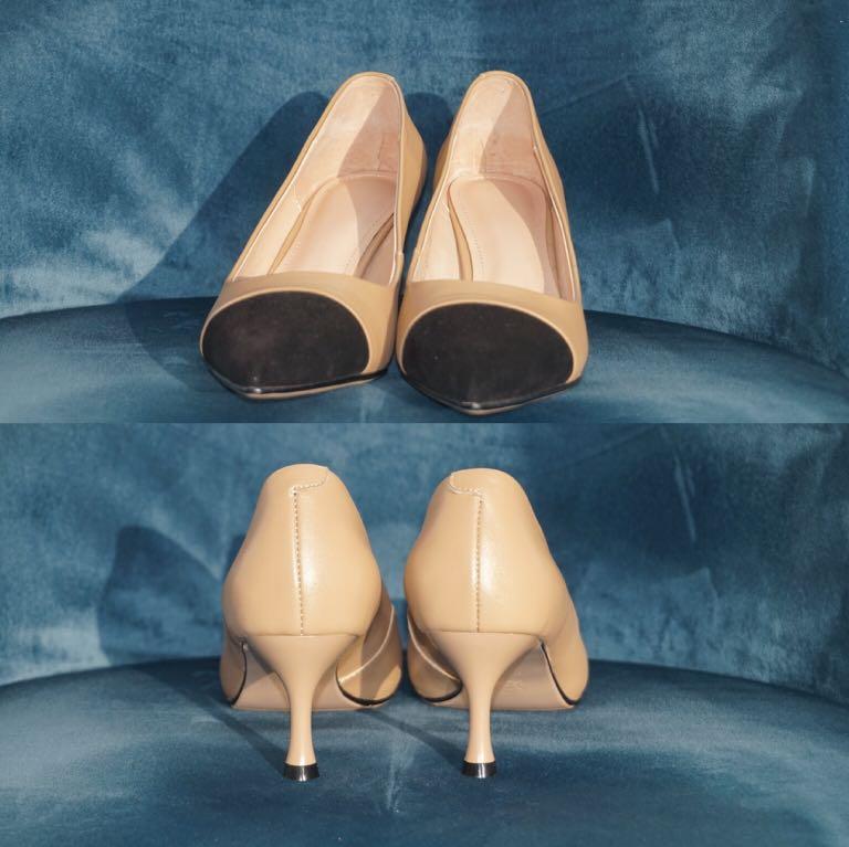 NWB Genuine Leather Pointed Toe Cap Toe Heels Size US 7.5