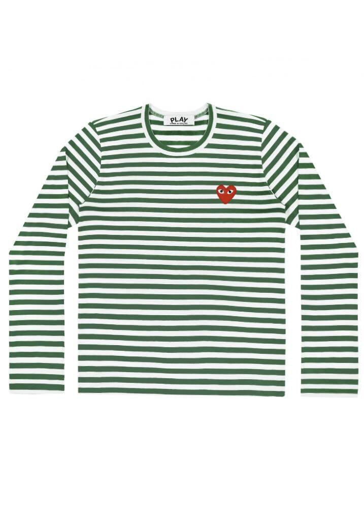 Play Comme Des Garçons Striped T-shirt (Green/White)