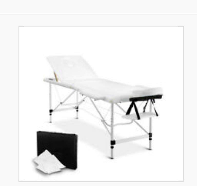Portable Aluminium Massage Table 3 Fold Beauty Bed Therapy Waxing White