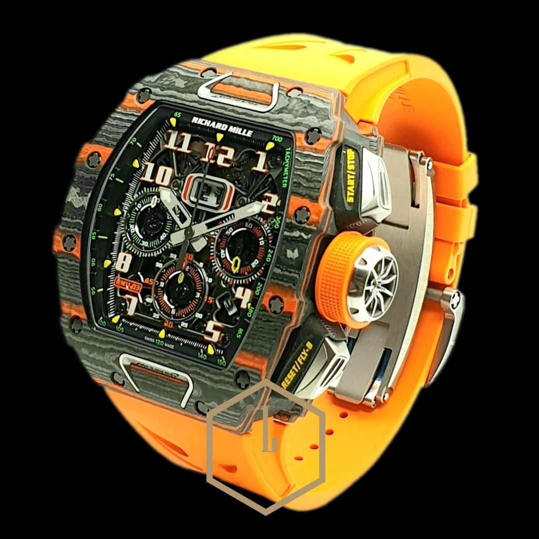 Richard Mille RM011-03 Chronograph Flyback McLaren Limited Edition of 500 Pcs in Black & Orange TPT (Thin Ply Technology)