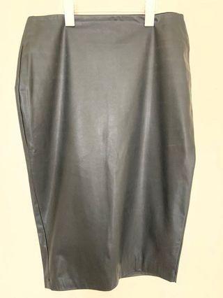 Lined faux leather midi skirt