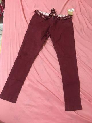 Herbench maroon colored skinny stretchy pants