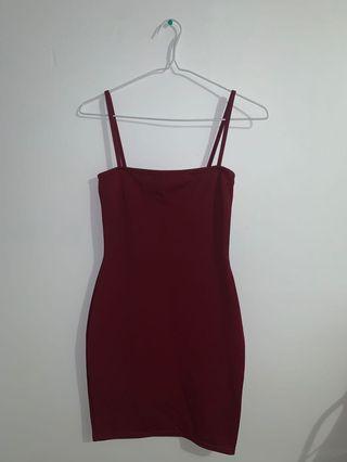 Pretty Little Thing Maroon Bodycon Dress