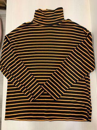 韓國黑橘條文高領衣