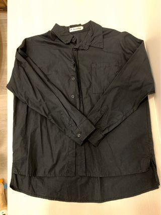 黑色前短後長襯衫