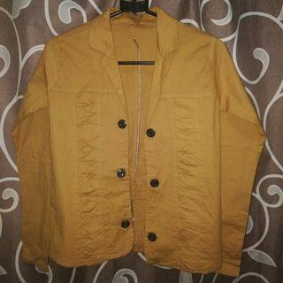 Jaket outer kuning bahan melar