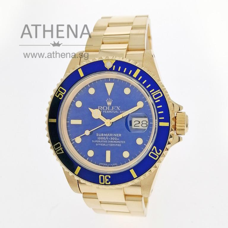 "COLLECTIBLE TIMEPIECE !!! 18K YELLOW GOLD ROLEX OYSTER PERPETUAL SUBMARINER DATE ""N"" SERIES ""BLUE TRITIUM DIAL"" / FLAT 4 BEZEL WITH CERT 16618 JGWRL_1176"