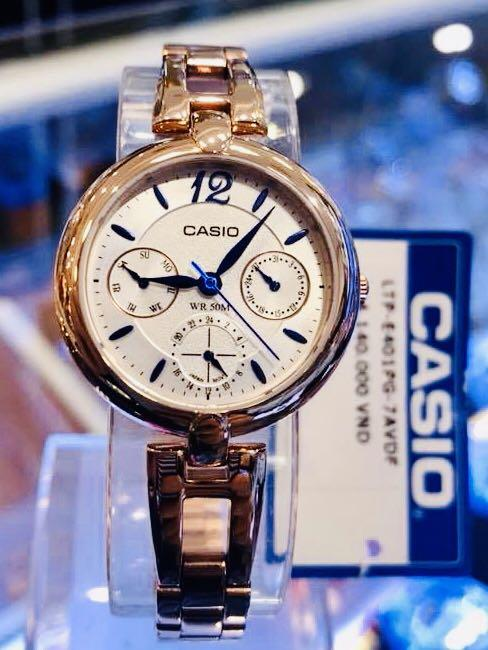 NEW🌟 LUXURY LADIES GLAMOUR WATCH : 100% ORIGINAL AUTHENTIC CASIO BABY-G SHOCK ( GSHOCK ) COMPANY : LTP-E401PG-7AVDF (ROSE GOLD)