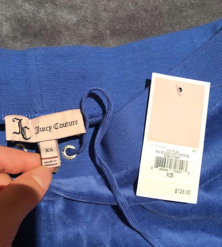 New Juicy Couture Size Xs Rio Blue Velour Pant with Crystal/Diamante/Rhinestones