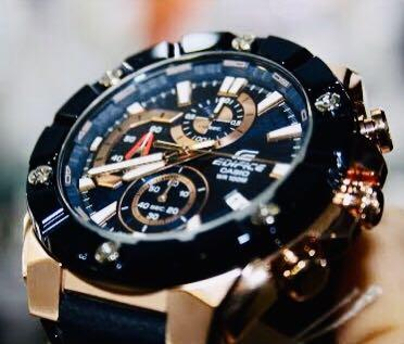 NEW🌟EDIFICE DIVER UNISEX SPORTS WATCH : 100% ORIGINAL AUTHENTIC : By CASIO G-SHOCK GSTEEL ( GSHOCK ) Company : EFR-569BL-1AVUDF / EFR-569 (BLACK ROSE-GOLD)