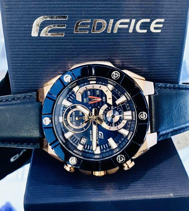 NEW🌟EDIFICE DIVER UNISEX SPORTS WATCH : 100% ORIGINAL AUTHENTIC : By CASIO G-SHOCK GSTEEL ( GSHOCK ) Company : EFR-569BL-2AVUDF / EFR-569 (BLUE ROSE-GOLD)